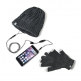 KIT Celly Guantes Pantalla Tactil + Gorro con Auricular + Microfono Winter Collection Grey