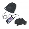 KIT Celly Guantes Pantalla Tactil + Gorro con Auricular + Microfono Winter Collection Grey