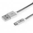 Cable Maillon USB 2.0 a Macho / Micro USB B Macho Metal 1M Silver