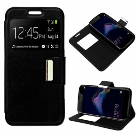 Funda Movil HT Leather Window Black para Huawei P8 Lite 2017
