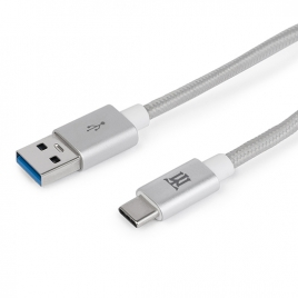 Cable Maillon USB 3.0 a Macho / USB-C Macho Aluminium Nylon 1M Silver