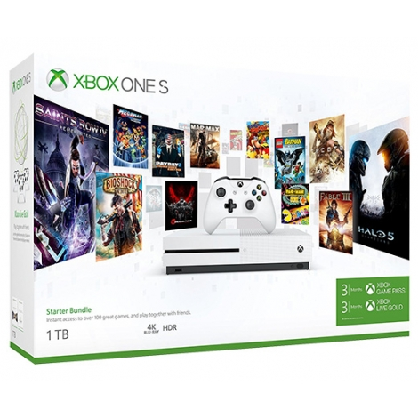 Consola Xbox ONE S 1TB White Starter Bundle + Game Pass 3M + Live Gold 3M