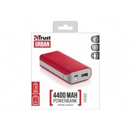 Bateria Externa Universal Trust 4.400MAH USB red + Linterna