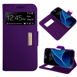 Funda Movil HT Leather Window Purple para Samsung Galaxy G935 S7 Edge