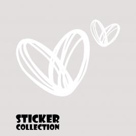 Sticker Adhesivo para Portatil HT Hearts White