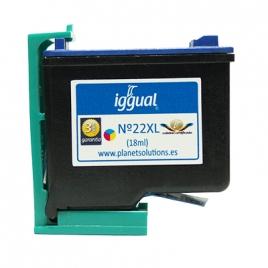 Cartucho Reciclado Iggual HP 22XL Color 3X6ML