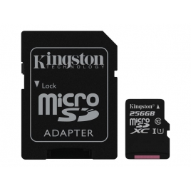 Memoria Micro SD Kingston 256GB Class 10 80MBS + Adaptador SD
