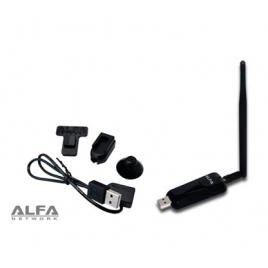 Adaptador WIFI Alfa Network Awus036neh 150Mbps USB 5DBI + Dongle Clip SET