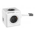 Regleta Powercube Extended USB 4 Tomas White/Grey 1.5M