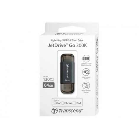 Memoria USB Transcend 64GB Jetdrive GO 300 USB 3.1 Lightning Space Grey