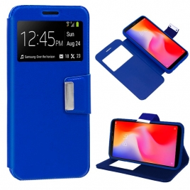 Funda Movil HT Leather Window Blue para Xiaomi Redmi 6 / 6A