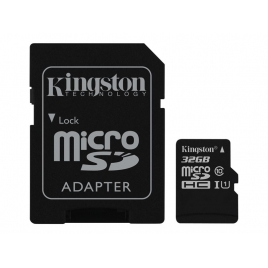 Memoria Micro SD Kingston 32GB Class 10 80Mpbs + Adaptador