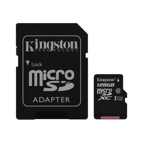 Memoria Micro SD Kingston 128GB Class 10 80MBS + Adaptador