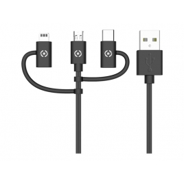 Cable Celly USB 2.0 a Macho / Micro USB B Macho + Lightning + USB-C Macho 1M Black