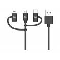 Cable Celly USB 2.0 a Macho / Micro USB B Macho + Lightning + USB-C Macho 1M Black