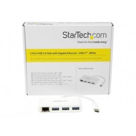 HUB Startech USB-C 3 Puertos USB 3.0 + RJ45 White