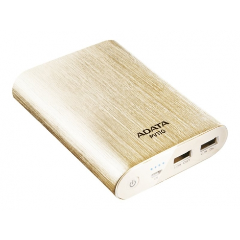 Bateria Externa Universal A-DATA Powerbank 10.400MAH USB 2P Gold