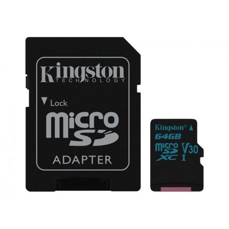 Memoria Micro SD Kingston 64GB U3 Class 10 90Mpbs + Adaptador