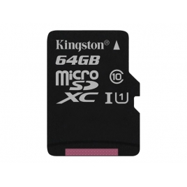 Memoria Micro SD Kingston 64GB Class 10 80Mpbs + Adaptador