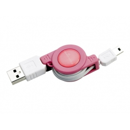 Cable Retractil Energy Mini USB K100 Pink
