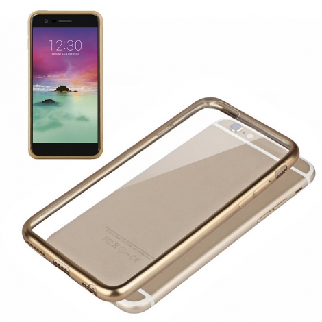Funda Movil Back Cover Cool Silicona Transparente Borde Gold para LG K10 2017