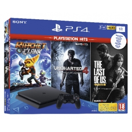 Consola Sony PS4 Slim 1TB + Pack Hits (Ratchet / Uncharted 4 / Lastofus)