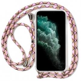 Funda Movil Back Cover Cool Silicona Transparente + Cordon Pink para iPhone 11 PRO MAX
