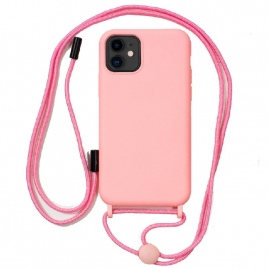 Funda Movil Back Cover Cool Silicona Pink + Cordon Pink para iPhone 11