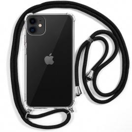 Funda Movil Back Cover Cool Silicona Transparente + Cordon Black para iPhone 11