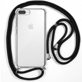 Funda Movil Back Cover Cool Silicona Transparente + Cordon Black para iPhone 6 Plus / 7 Plus / 8 Plus