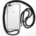 Funda Movil Back Cover Cool Silicona Transparente + Cordon Black para iPhone 6 Plus / 7 Plus / 8 Plus