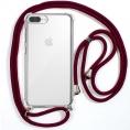 Funda Movil Back Cover Cool Silicona Transparente + Cordon Granate para iPhone 6 Plus / 7 Plus / 8 Plus