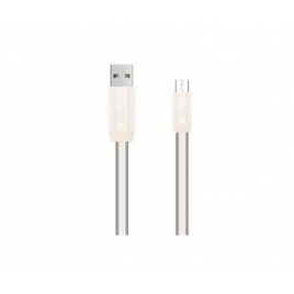 Cable Kablex USB 2.0 a Macho / Micro USB B Macho 1M 2.4A Flat Grey / White
