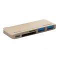 Puerto Replicador USB-C Silver HT 2Xusb 3.0 + SD + Micro SD + USB-C