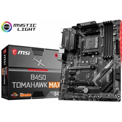 Placa Base Msi AMD B450 Tomahawk MAX Socket AM4 ATX Grafica DDR4 Glan USB 3.2 USB-C Audio 7.1