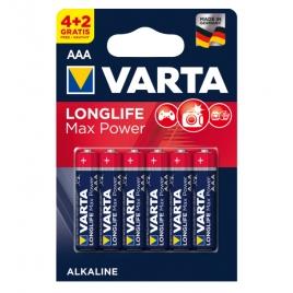 Pila Alcalina Varta Longlife MAX Power Tipo AAA LR03 Pack 4 + 2 Gratis