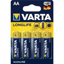Pila Alcalina Varta Longlife Tipo AA LR6 Pack 4