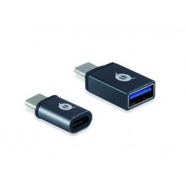 Adaptador Conceptronic OTG USB-C Macho / USB 3.0 Hembra + USB-C Macho / Micro USB Hembra