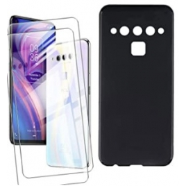 Funda Moviil Back Cover Black + 2 Cristales Templado para TCL Plex T780H