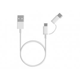 Cable Xiaomi USB 2.0 a Macho / USB-C Macho + Microusb 0.3M White