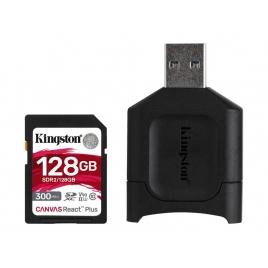 Memoria SD Kingston 128GB Class 10 UHS-II U3 300MB/S Canvas React Plus + Lector USB