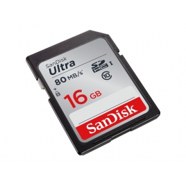Memoria SD Sandisk 16GB Class 10 80MB/S Ultra