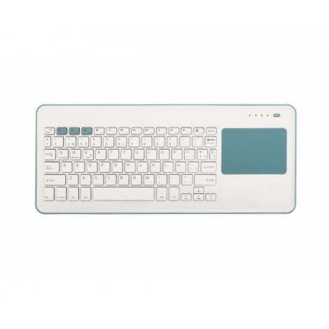 Teclado Silver HT Bluetooth + Touchpad Blue/White Smart TV Android IOS