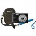 Camara Digital Nikon Coolpix A100 20.1 Mpixel 5X Zoom Black + Estuche + Selfie