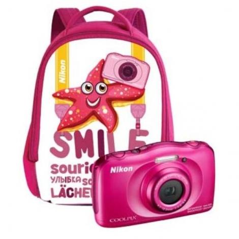 Camara Digital Nikon Coolpix W100 + Mochila 13.2 Mpixel 3X Zoom Acuatica Pink