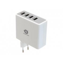 Cargador USB Conceptronic 4 Puertos White para Casa