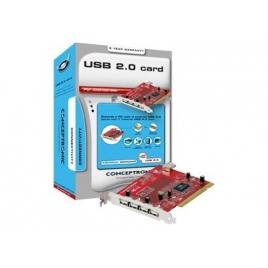 Controladora Conceptronic USB 2.0 4P EXT + 1P INT PCI