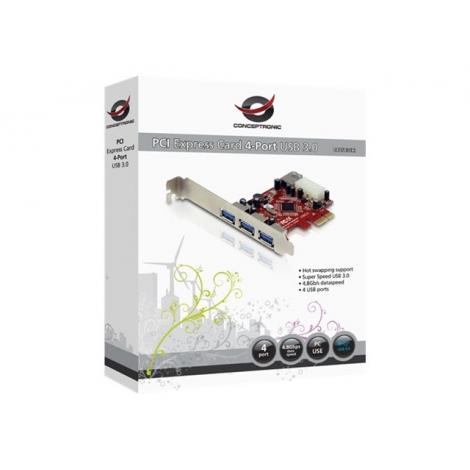 Controladora Conceptronic USB 3.0 3P EXT + 1P INT PCIE