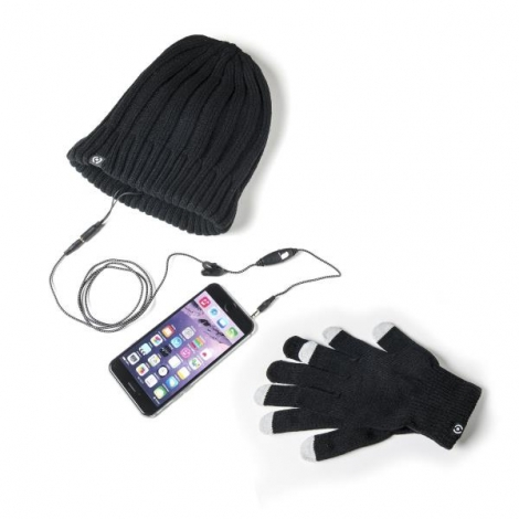 KIT Celly Guantes Pantalla Tactil + Gorro con Auricular + Microfono Winter Collection Black