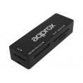 Lector Memorias Approx Appcr01b USB 2.0 Black